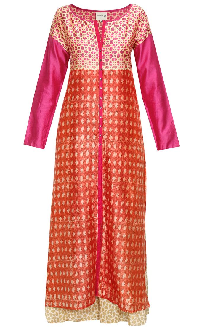 Fuchsia and coral block print kurta with beige palazzos available only at Pernia's Pop-Up Shop.