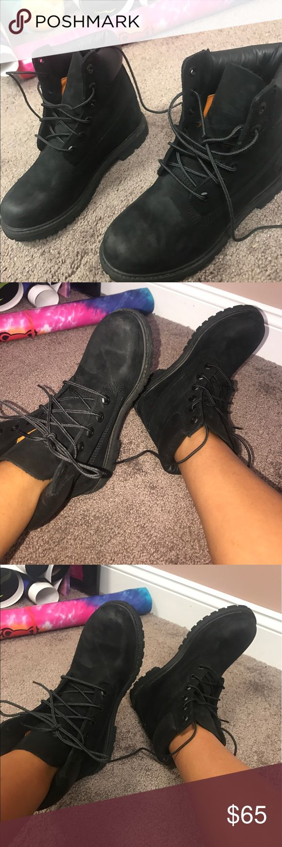 Women's Black Timbs Thy have only been worn a couple times but can tell they are slightly used.... But put I am selling these for HALF PRICE! Willing to do trades also❤️ Timberland Shoes Combat & Moto Boots