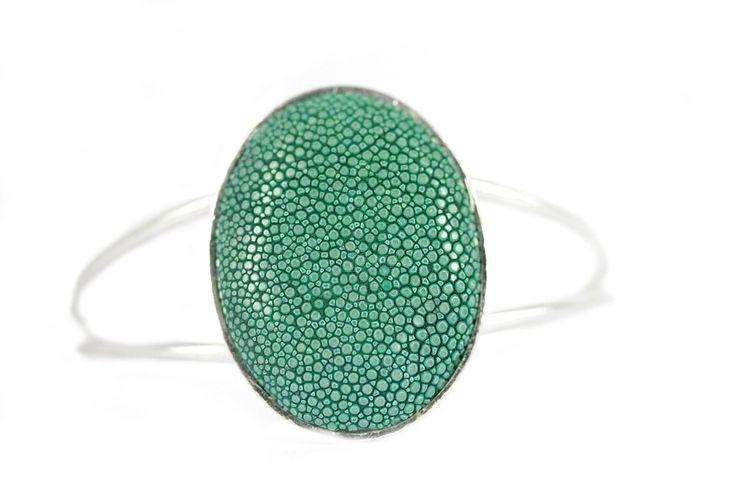 """Bracelet Galuchat emeraude""-Bracelet argent cuir Galuchat"