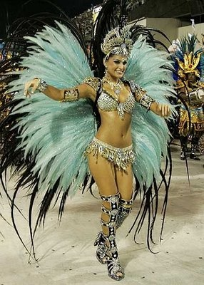 Brazilian Samba Costume - aqua & black wings backpiece, silver beaded bikini and crown
