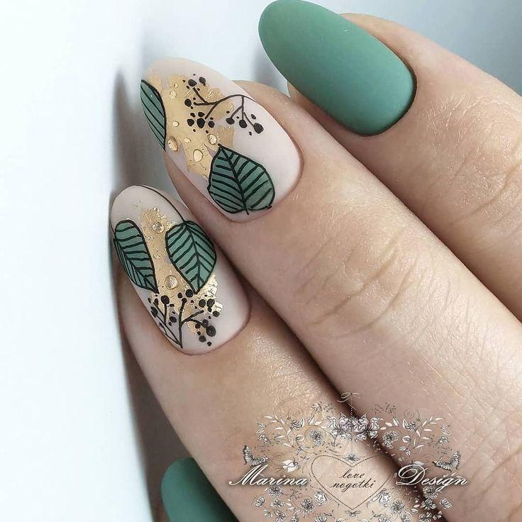 Nail Art Leaf Design. Matte Nägel. На данно … – #art #design #ete #leaf … – Nageldesing