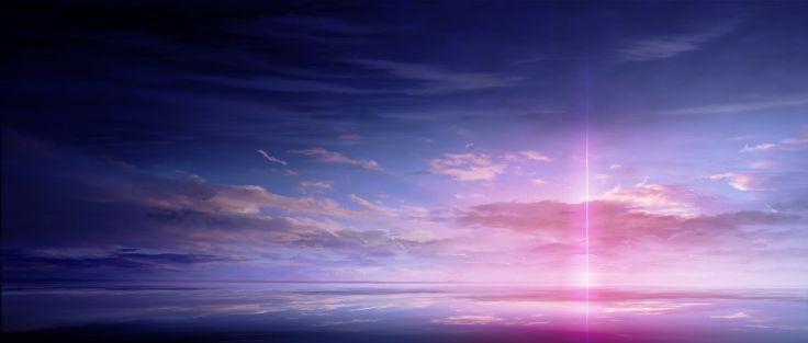 anime τοπίο σάρωση σύννεφο ουρανό όμορφο χρώμα του φωτός