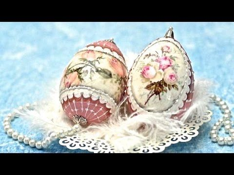 Decoupage easter eggs with roses - DIY By Catherine :) - YouTube