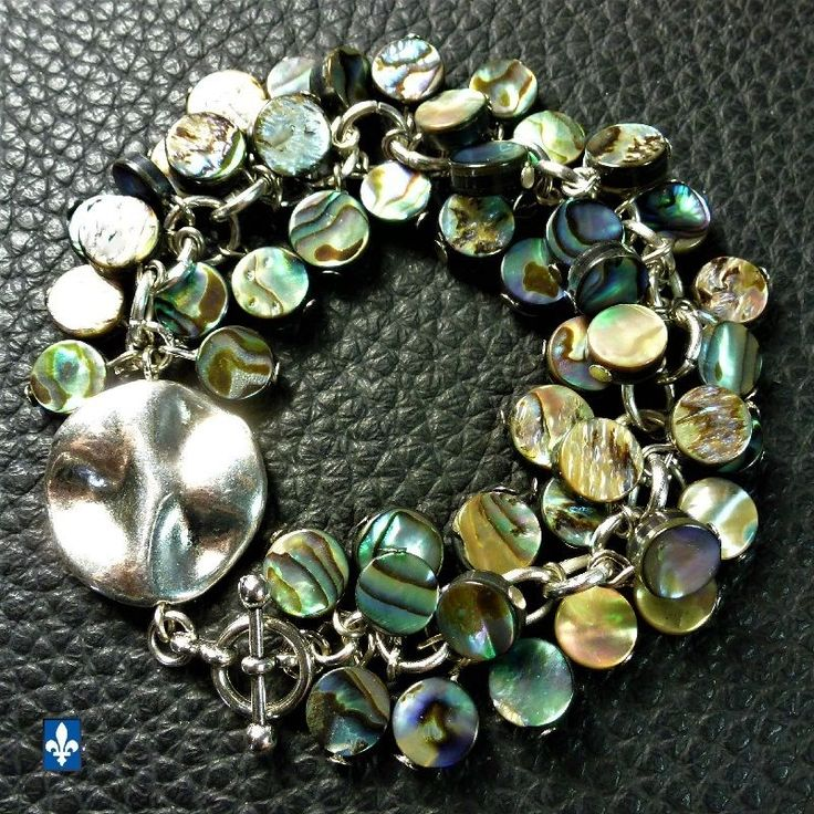 ♥ Stunning All Multicolor Abalone Shell Plated Silver Bracelet