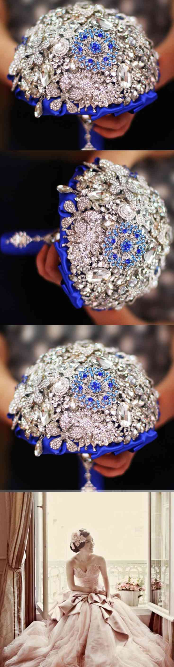 Winter Wedding, Brooch Bouquet, Royal Blue Brooch Bridal Bouquet, Winter bouquet, Jeweled Bouquet, Royal Blue Bouquet.  Royal Blue is a truly for Royal Bride to be. This gorgeous bouquet is a masterpiece and will remind you of your special day for many generations to come a heirloom in making~  11 inches length 8 inches wide  ~ 50% percent deposit required ~ total due (...) (via pushapin.com)