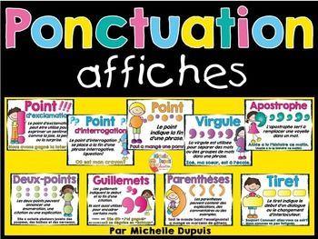 Signes de ponctuation - Ces affiches sont parfaites pour l'enseignement et la révision des signes de ponctuation. Cette ressource contient: Point d'exclamation, point d'interrogation, point, guillemets, tiret, deux-points, virgule, parenthèses et apostrophe.  (9 affiches aux couleurs vives)