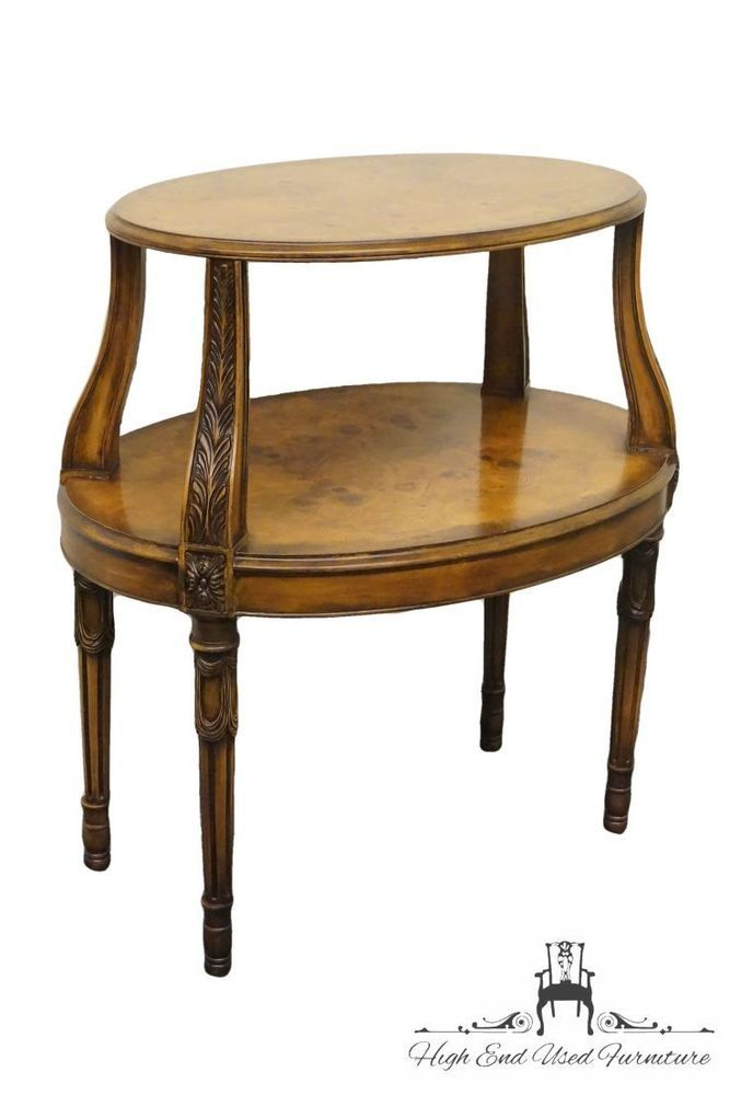 HENREDON Burl Olive Wood Louis XVI French Style Oval End Table #French # Henredon