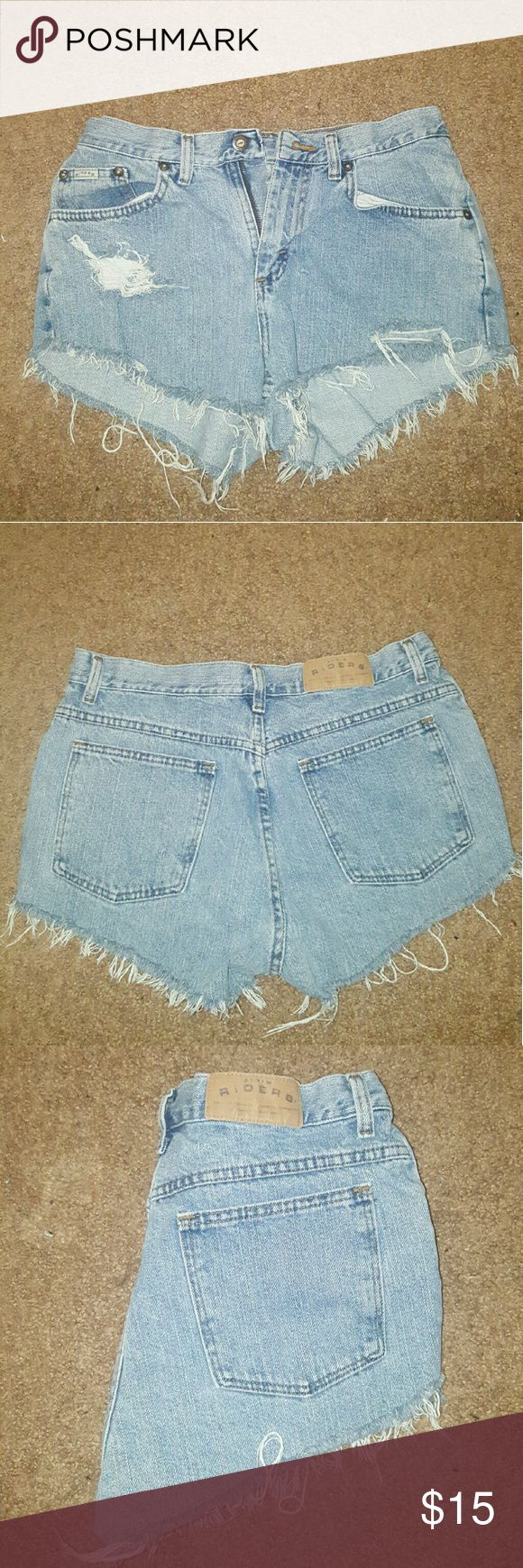 Homemade highwaisted shorts Homemade shorts. Blue wash. Original size 10 mom Jeans, fits me around my waist at 28 inches! High wasited! riders Shorts Jean Shorts