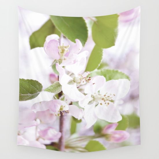 Apple Tree Blossoms Wall Tapestry by ARTbyJWP from Society6 #walltapestry #tapestry #walldeco #floral #botanical --  Available in three distinct sizes, our Wall Tapestries are made of 100% lightweight polyester with hand-sewn finished edges. Featuring vivid colors and crisp lines, these highly unique and versatile tapestries are durable enough for both indoor and outdoor use. Machine washable for outdoor enthusiasts, with cold water on gentle cycle using mild detergent - tumble dry with low…