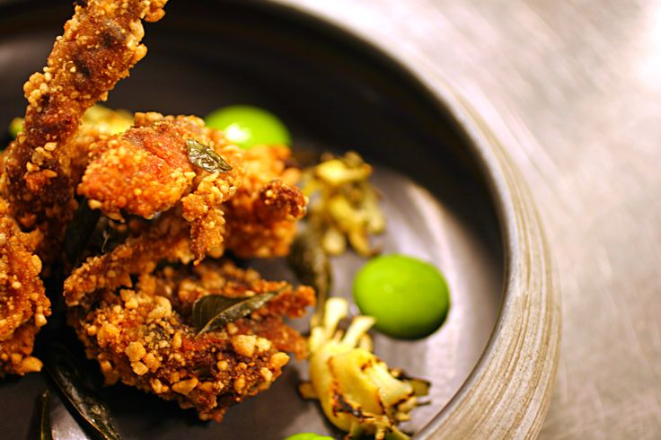 Cuca's Rice Crusted Soft Shell Crab: garlic aioli, bbq pineapple, curry leaf. #Cuca #Bali #food #foodie