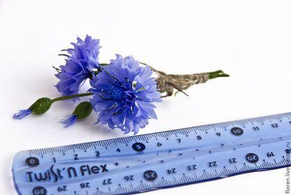 """Купить Брошь """"Василек"""" - синий, василек, брошь, брошь с васильком, полевые цветы, броши с цветами"""