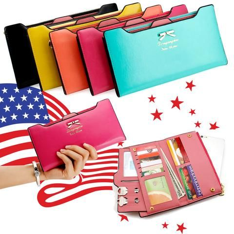 Women Leather Clutch Wallet Long Card Holder Case Purse Handbag.