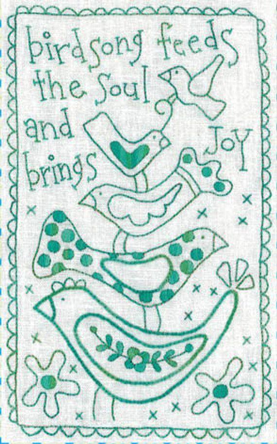 Rosalie Dekker includes fabric Birdsong fun stitchery PATTERN