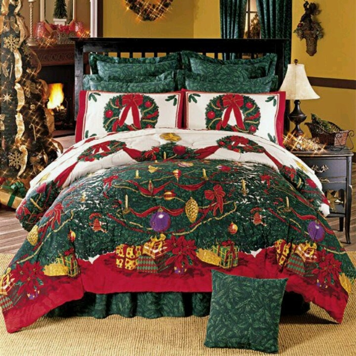 Pin By MK BS On Bedrooms Christmas Bedroom Christmas Bedding Christmas Room