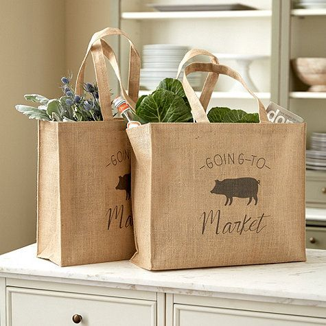 The Piggy Goes To Market Tote is sturdy and reusable. Made of jute and laminated, so you can wipe it clean after a trip to the grocery store or farmers market.