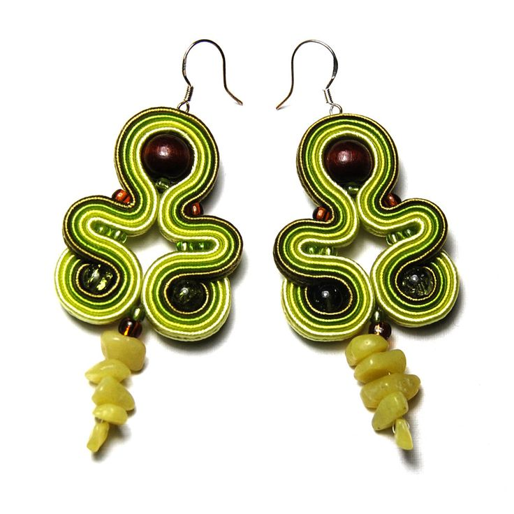 Soutache earrings original hanging dangle handmade to buy gift unique green olive brown for sale jewelry boucles d'oreilles orecchini by ForQueen on Etsy