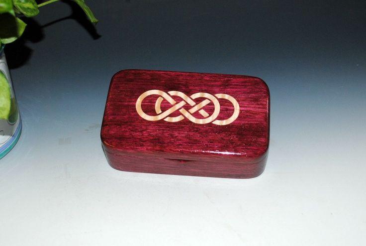 Purple heart Wood Treasure Box With Inlaid Maple Double Infinity Symbol - Handmade in the USA by BurlWoodBox - Celtic Knot or Symbol Box by BurlWoodBox on Etsy