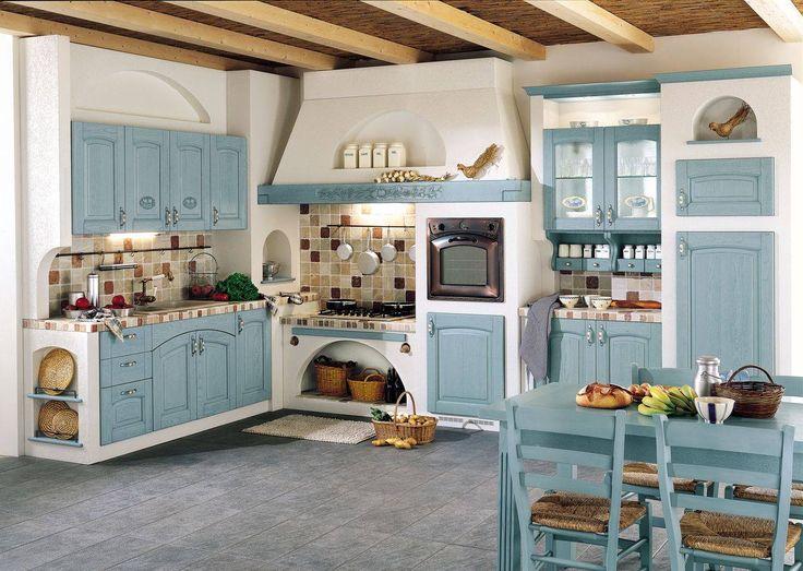 Cucina/Country/Color azzurro/Cucina in muratura http://www.pinterest.com/Arredocountry/