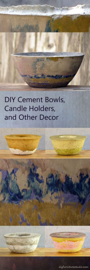 DIY cement bowls, candle holders, vases, and other decor.  Tinted with latex pai… – Hochzeitsgeschenk