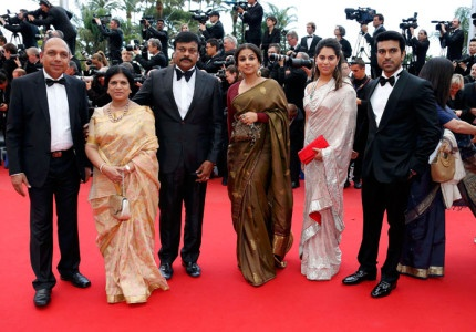 Ram Charan and his wife along with Minister for Tourism were seen at Cannes Film festival.