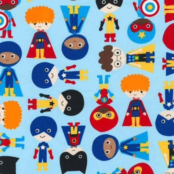 HALF YARD  Superhero Fabric  Super Kids  Robert Kaufman