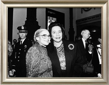 Rosa Parks and Coretta Scott King, at the Rosa Parks Sculpture Unveiling,1991. Photographic Print by Maurice Sorrell at Art.com