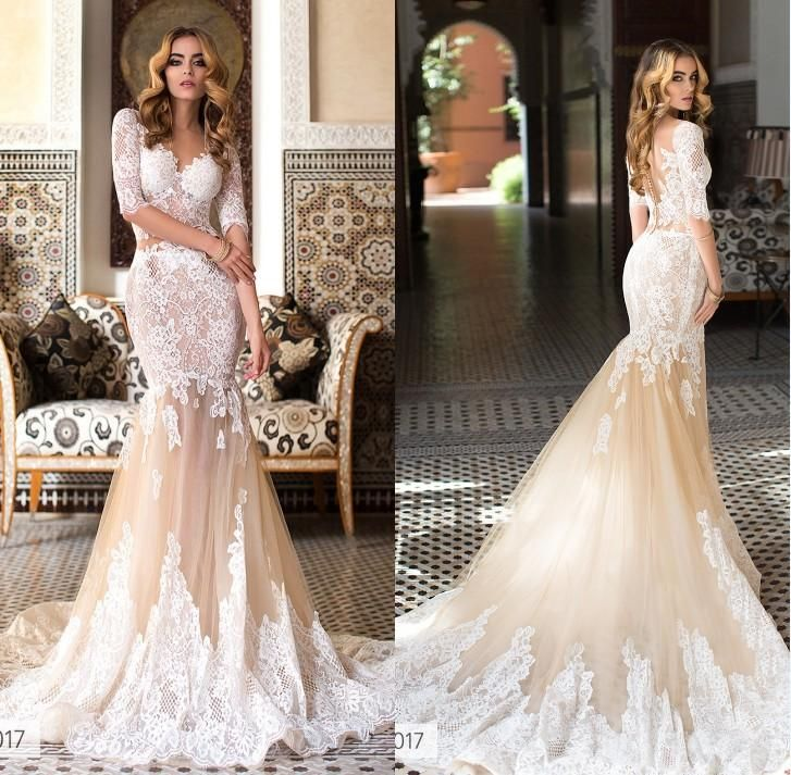 Exquisite Appliques Lace Mermaid Wedding Dresses 2017 V