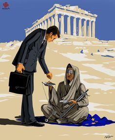Ilustrações satíricas mostram a visão de justiça de cada país