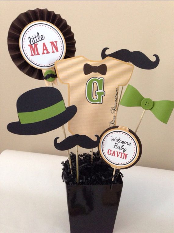 chá de bebê - menino - Custom Little Man Mustache Baby Onesie Centerpiece Decoration