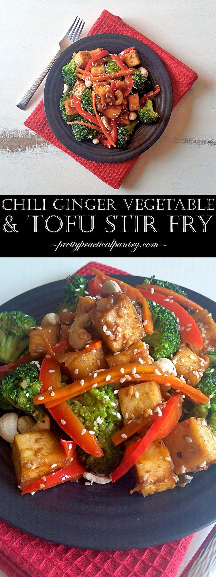 Chili Ginger Vegetable & Tofu Stir Fry... garlic, onions, chili powder, and lots of ginger!!