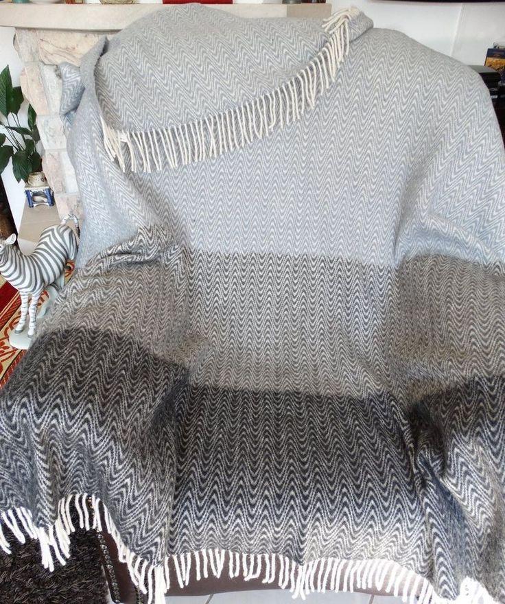 Wolldecke 140x200cm Plaid Wohndecke Kuscheldecke Decke  80%Wolle Grau-Schwarz in Möbel & Wohnen, Bettwaren, -wäsche & Matratzen, Wohn- & Kuscheldecken | eBay!