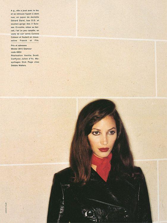 """""""La Double Vie De Christy"""", French Glamour, October 1994, #69, photographs - Juergen Teller, realisation - Venitia Scott, model - Christy Turlington."""
