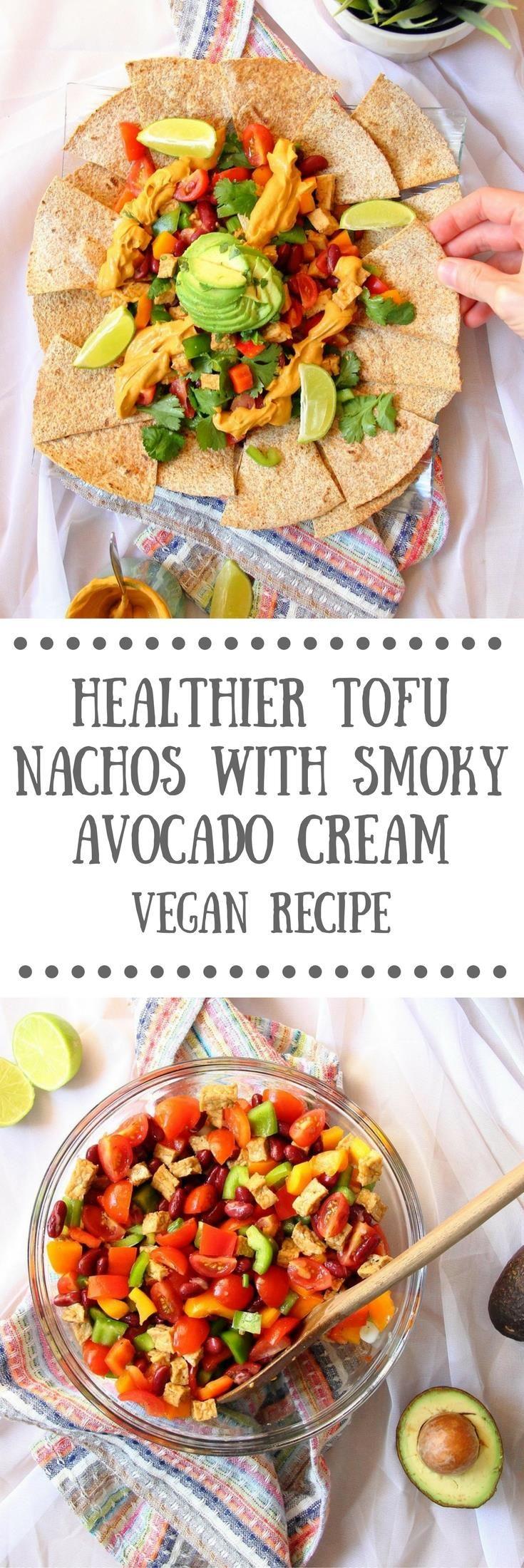 Healthier Tofu Nachos with Smoky Avocado Cream | Vegan Recipe by The Tofu Diaries