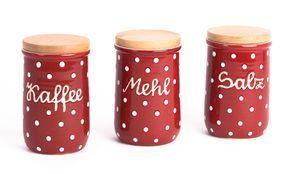 Aufbewahrungsdosen Rot+Weiß - Kaffeedose - Mehldose - Zuckerdose - Salzdose - küche - landhausküche - bauernküche - keramik - töpferei - made in germany - rot mit weißen Punkten - red and white polka dots - kitchen -