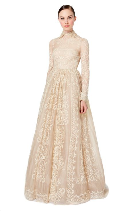 Perfection.   Long Sleeved Gown by Valentino for Preorder on Moda Operandi