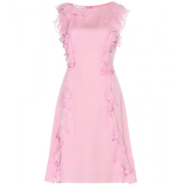 Oscar de la Renta Ruffled Silk Dress ($1,935) ❤ liked on Polyvore featuring dresses, flutter dress, frill dress, flounce dress, silk dress and pink frilly dress