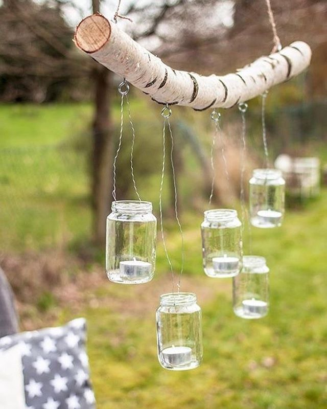 make my own chandelier with branch twine mason jars and votives