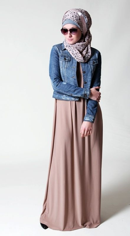 color combo - pink skirt, denim jacket, patterned scarf drape of skirt