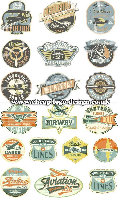 retro aviation logos www.cheap-logo-design.co.uk #retrologo #aviation #aeroplanegraphics