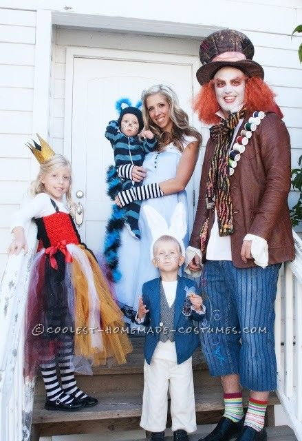 Coolest Homemade Wonderland Family Costume: Alice, Cheshire Cat, Queen of Hearts, White Rabbit and Mad Hatter Costumes... Coolest Homemade Costumes