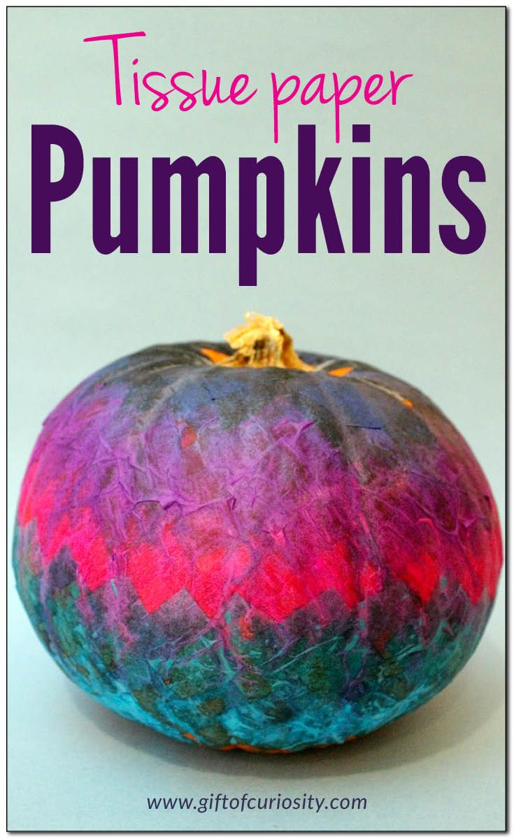 Tissue paper pumpkins - a beautiful (and kid-friendly) way to decorate pumpkins for Halloween! OMG So pretty! I love this! || Gift of Curiosity
