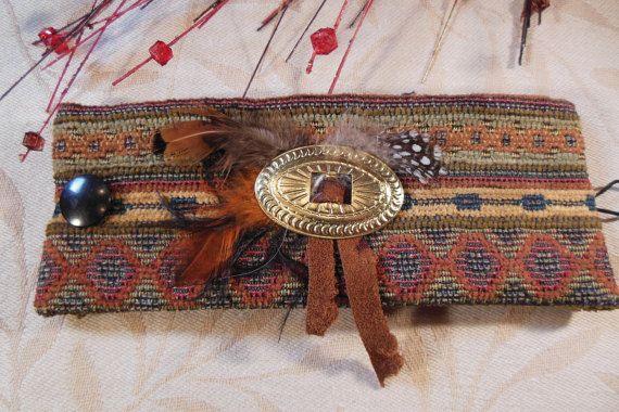 Southwestern Fabric Cuff Bracelet Boho Music by hopefullworld