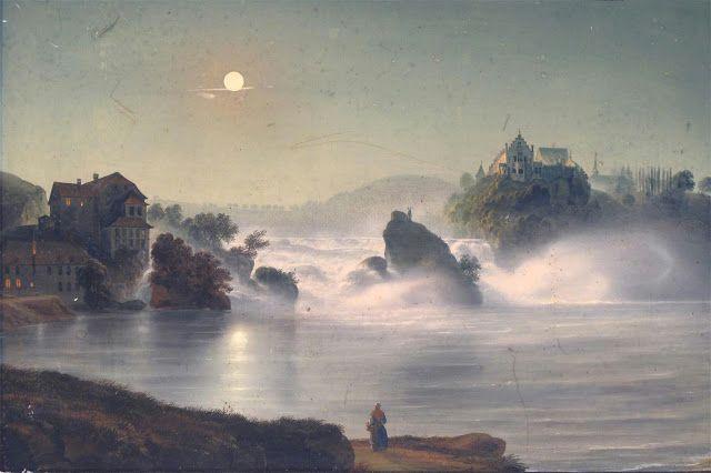 Ludwig Bleuler (1792-1850), La Chute du Rhin ( Chez Louis Bleuler au Château de Laufren près de Schaffhausen).