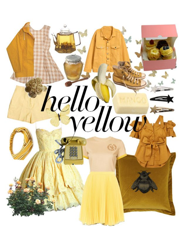 """yellow"" by susannahholopainen ❤ liked on Polyvore featuring WALL, Opening Ceremony, Chunk, Timorous Beasties, Silvia Tcherassi, Retrò, FRUIT, Converse, Puma and Boutique Moschino"