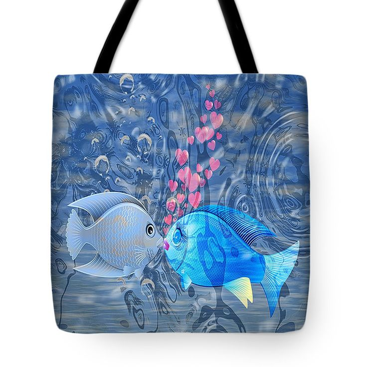 Adorable Tote Bag featuring the digital art Fish In Love by Eleni Mac Synodinos #totebags #tropicalfish #fashiontotes #macsnapshot #redbubble #tropicalfish