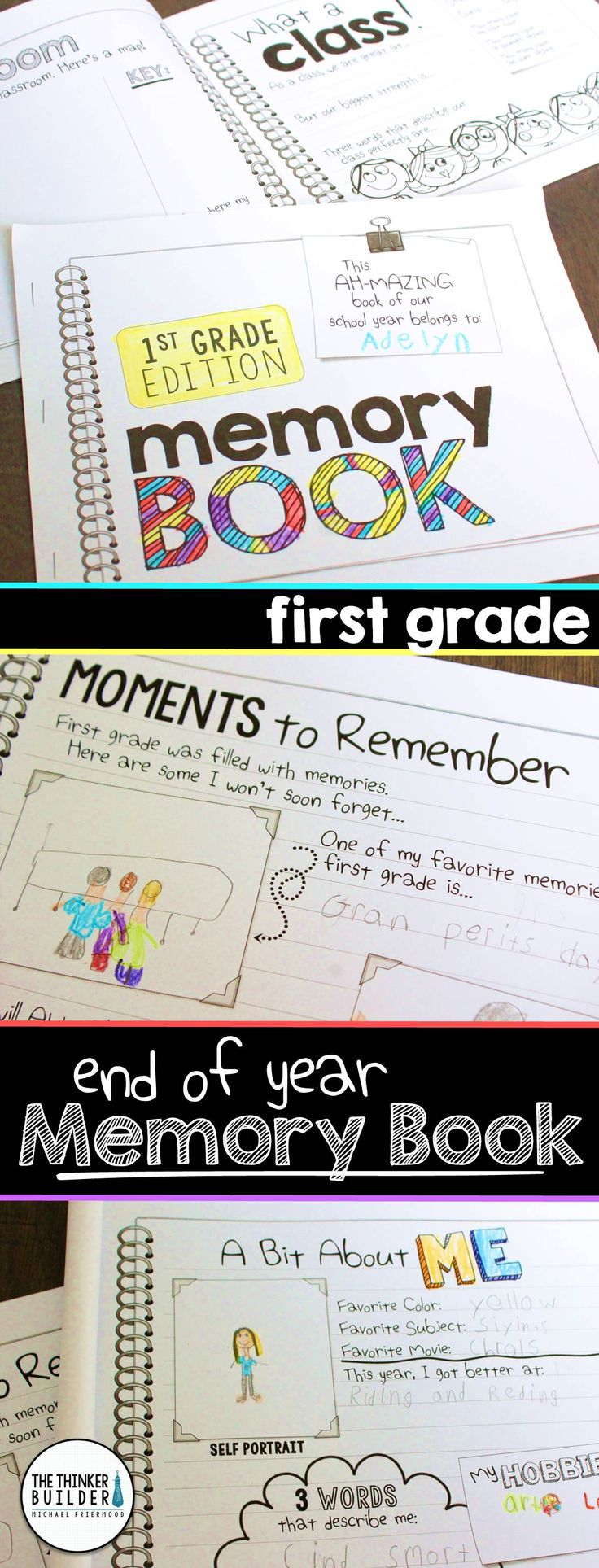A first grade End of Year Memory Book designed in a fun and engaging doodly-journal style. 16 different pages included. For Grade 1 ($)