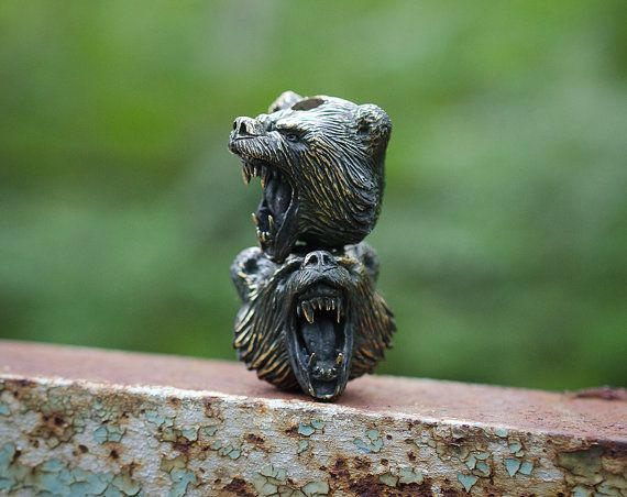 Bear paracord beads  Paracord accessories of bronze. Big by GATURA