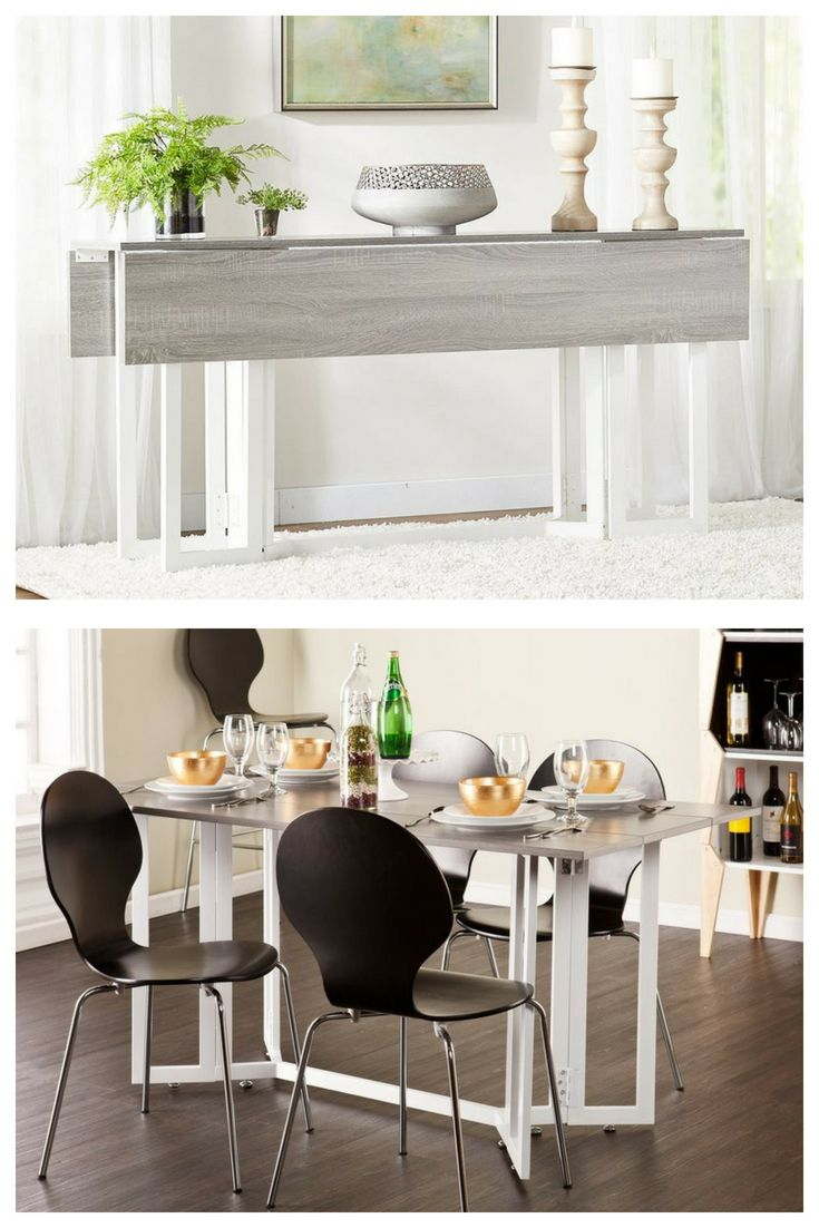 Adams Extendable Dining Table Drop Leaf Sides For Use As Console