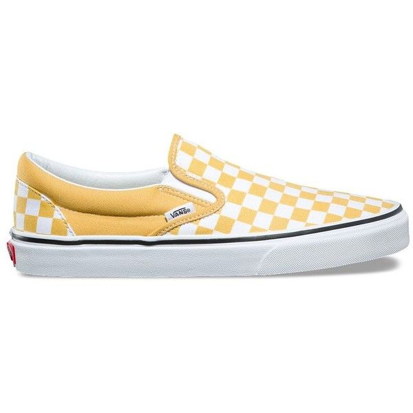 Vans Checkerboard Slip-On ($50) ❤ liked on Polyvore featuring men's fashion, men's shoes, yellow, mens rubber shoes, yellow mens shoes, vans mens shoes, mens slip on shoes and mens slipon shoes