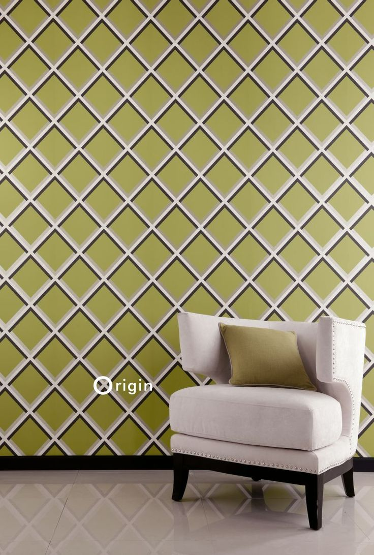 Dress up walls with textured paintable wallpaper called anaglypta - Surface Printed Non Woven Wall Covering Geometrically Olive Green Collection Couture Origin Luxury